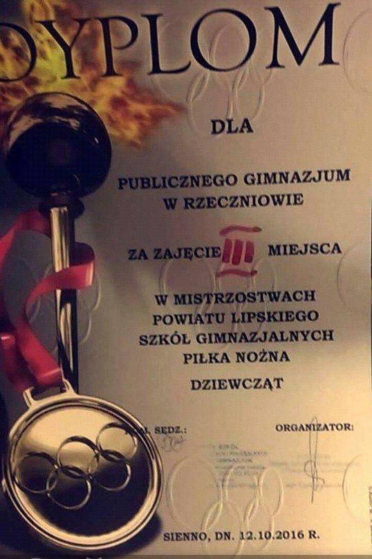 Dyplom za zajęcie III miejsca